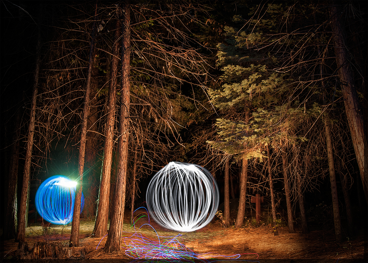 Yosemite Elves And Sprites Light Painting In The Forest