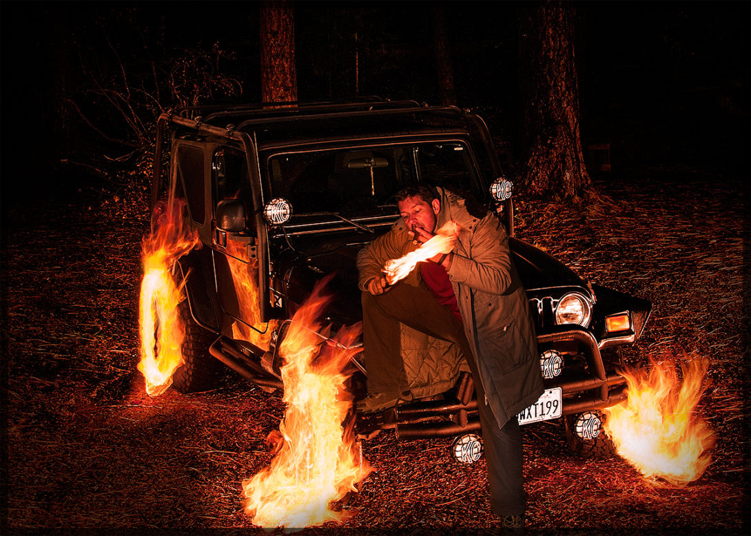 Burning Jeep