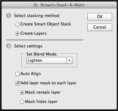 Stack-o-matic setting blend mode and mask